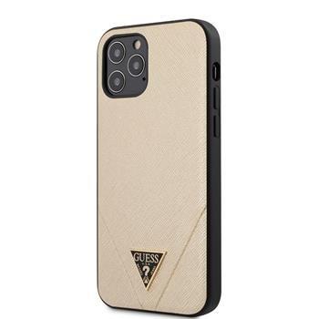 Guess Saffiano För iPhone 12 Pro Max V Stitch Cover - Guld